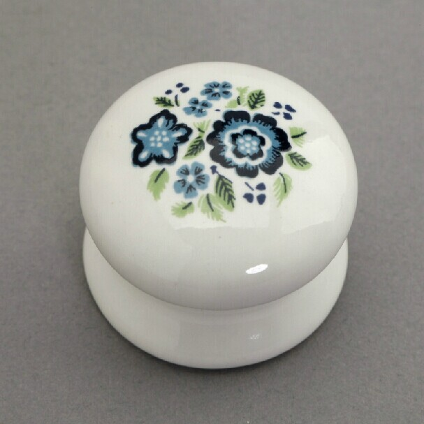 32mm white ceramic kitchen cabinet knobs white and blue porcelain