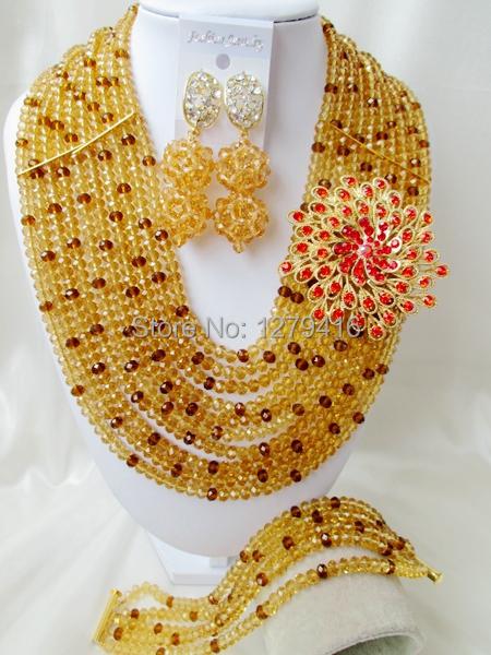 Luxury  Crystal Nigerian Wedding African Beads Jewelry Set AB018<br><br>Aliexpress