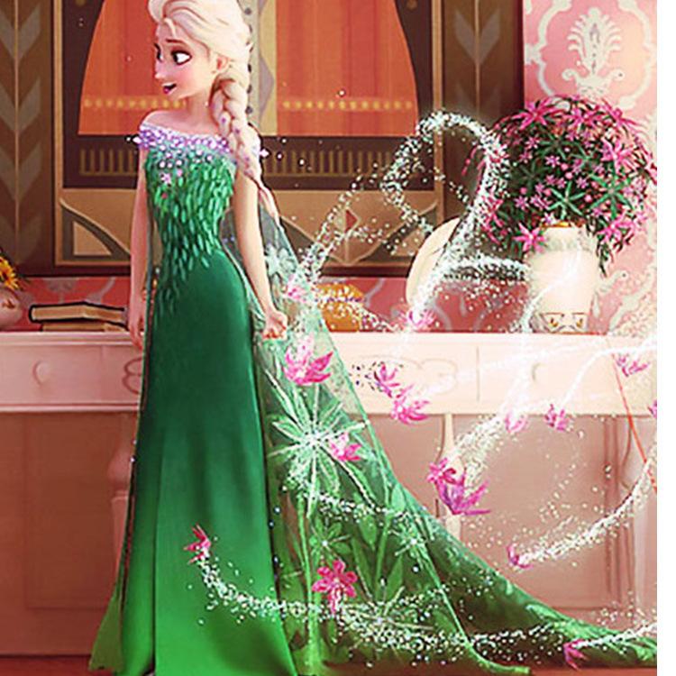 Disney Clothing For Kids Cute Cartoon Princess Elsa Baby Girl Dresses Green Princess Dresses Vestidos Infantis Frozen Ty361(China (Mainland))