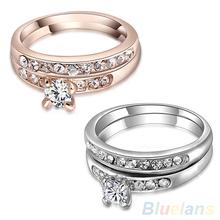 2Pcs/Set Women's 9K Gold Plated Rhinestone Alloy Wedding Party Multiple Rings