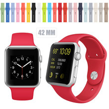 2016 New Silicone Band With Connector Adapter For Apple Watch Band 42mm/38mm Strap For iWatch Sports Buckle Bracelet