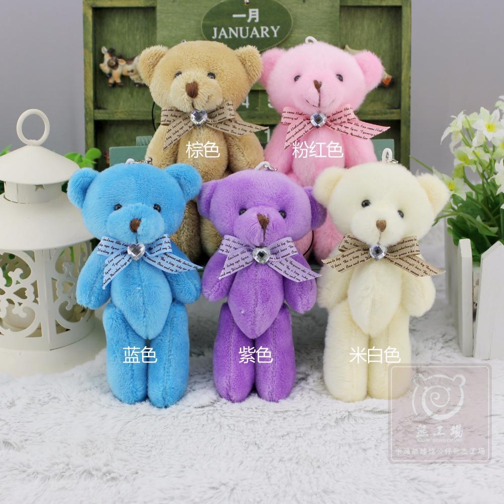 NEW 12 pieces/lot Colorful 12 cm Mini Bear Dolls Plush Stuffed Toys,Girls Birthday Gift Small Pendant,Stuffed Plush Animals(China (Mainland))