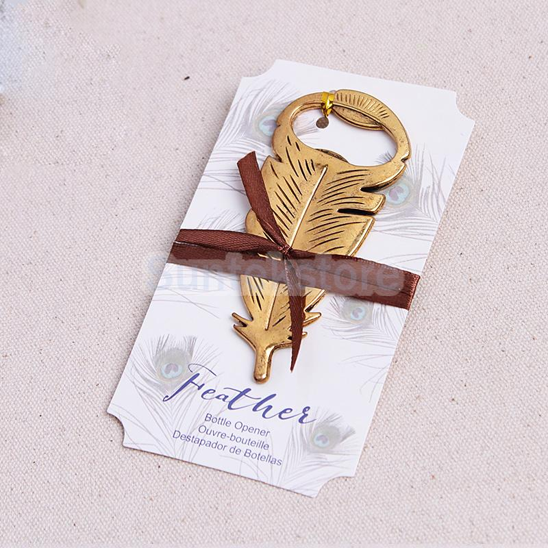 Gold Feather Bottle Opener Wedding Favor Fun Party Favors Gift(China (Mainland))