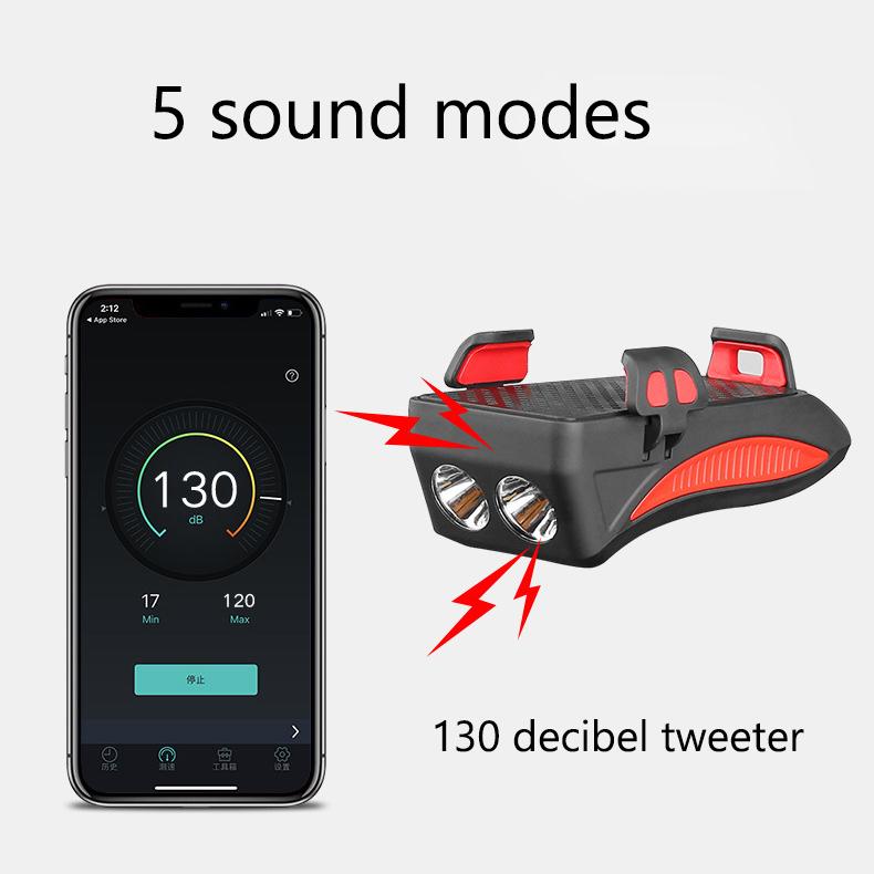 4 in 1 Multifunctional Bicycle Lights Alarm Bell 4000mAh Power Bank Phone Holder