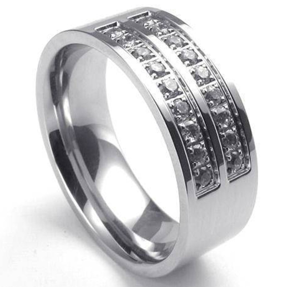 Daesar Mens The Only Eternal Love Stainless Steel Wedding Bands CZ Inlaid for Anniversary Size 7