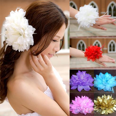 Bridal Wedding Party Flower Fascinator Elastic Pin Hair Wrist Corsage Brooch Headband Women 2K87(China (Mainland))