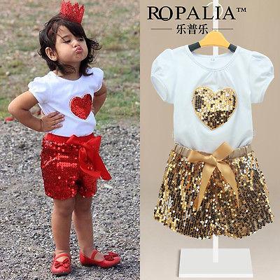 2016 Summer Hot selling Baby Kids font b Girls b font Short Sleeve Heart Sequin Shinning