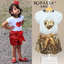 2016 Summer Hot-selling Baby Kids Girls Short Sleeve Heart Sequin Shinning T-shirt Tops+Shorts Pants Outfit Set 2-11Y Clothes