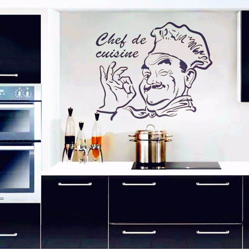 kitchen wall stickers chef de cuisine removable wall decals vinyl wall art home decor stikers. Black Bedroom Furniture Sets. Home Design Ideas