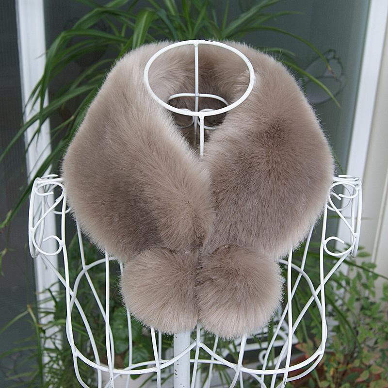 Winter faux fur collar rex rabbit fur ring with balls winter coat fur collar women men faux fur scarf warm(China (Mainland))
