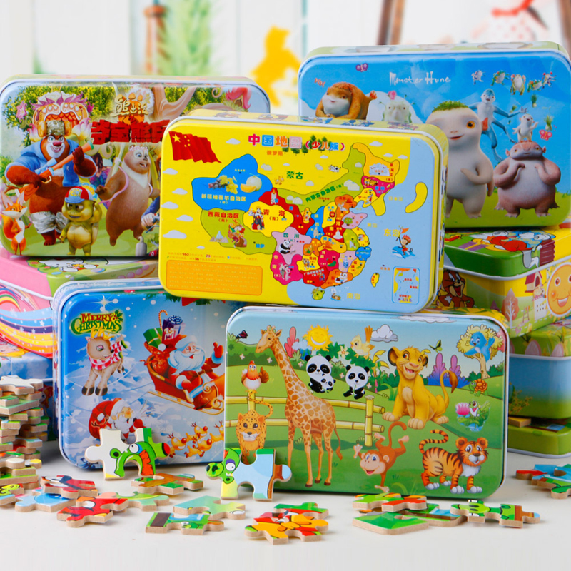 Cartoon animal map chritsmas day kitty bear duck wooden jigsaw puzzle game iron box baby birthday gift free shipping 60pcs/set(China (Mainland))