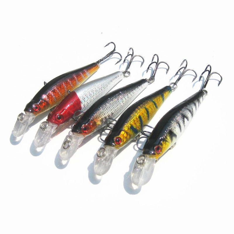 2015 Hot new fly fishing lure Bionic bait Hooks Minnow 5 piece per lot carp 8cm/7.9g tackle productsNIU72(China (Mainland))