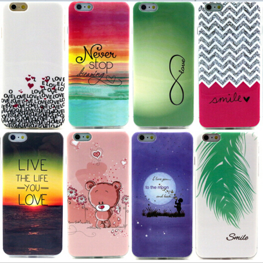 New Soft Beautiful Pattern TPU Case For Apple iphone 6 6S Cases 4.7 inch Mobile Phone Rubber silicone Bags Back Cover Cases(China (Mainland))