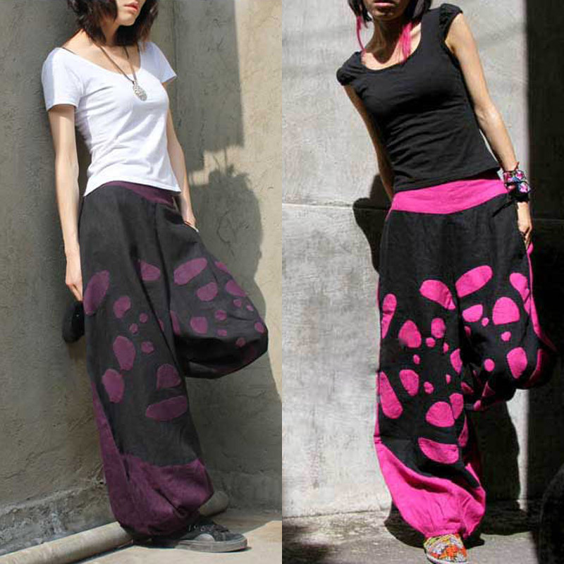 Aliexpress.com : Buy Handmade Patchwork Linen Wide Leg Print ...