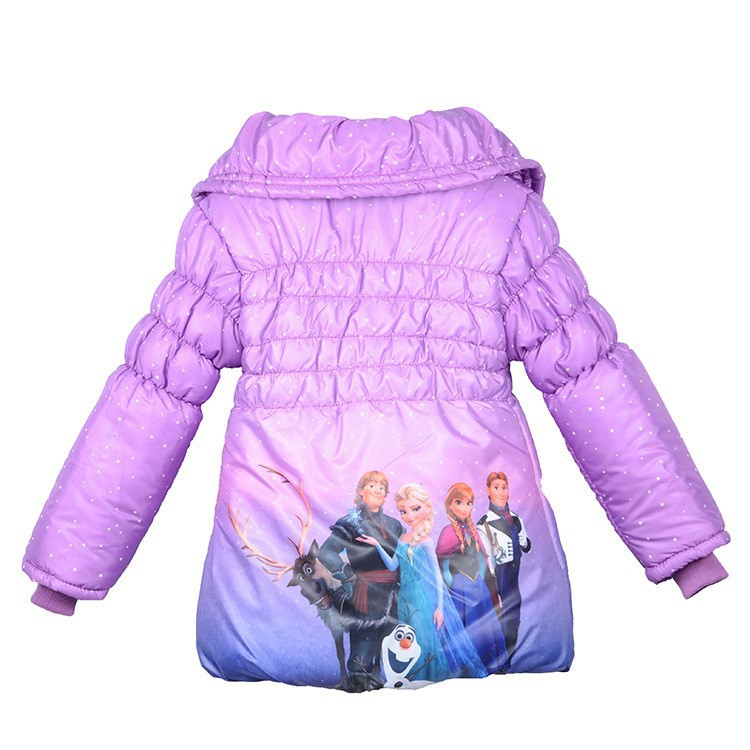 2016 New Winter girls thickening cotton-padded jacket warm jacket Anna Elsa,Winter Down Jacket free shipping