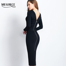 Buy Long Slim Womens Dress Open back Spring Autumn Elegant Dress High Quality Western Style Sexy Brief Dress MIEGOFCE New Collection for $25.99 in AliExpress store
