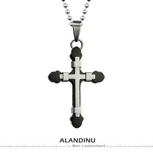 Top Quanlity 36624 male accessories titanium steel necklace black cross jewelry pendant heterochrosis(China (Mainland))