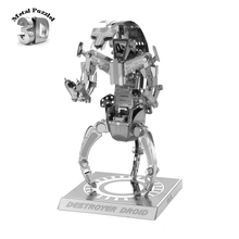 Buy 3 D Metal Puzzles Miniature Model DIY Jigsaws Cartoon Model Silver Gift Children Star Wars Destroyer Droid for $4.75 in AliExpress store