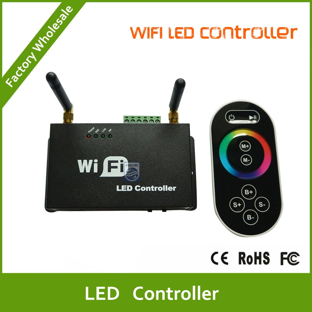 DHL Free shipping Wifi LED Controller for smart Phone with RF Touch Screen Remote for RGB LED Strips(China (Mainland))