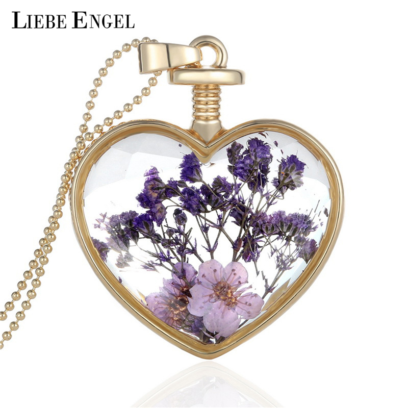 Collares Purple Dry Flower Heart Crystal Glass Pendant Necklace Golden Necklace For Best Friendship Fine Jewelry(China (Mainland))