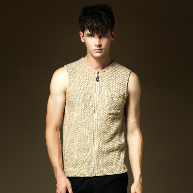 2015 New Brand Winter Casual O,Neck Zipper Design Knitted Sweater Vest Sleeveless Mens Cardigan