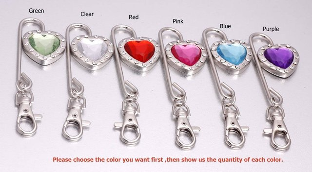 DHL/EMS Free shipping Charm Heart Crystal Steel Purse Hook/Bag hanger Key Finder 40pcs/lot