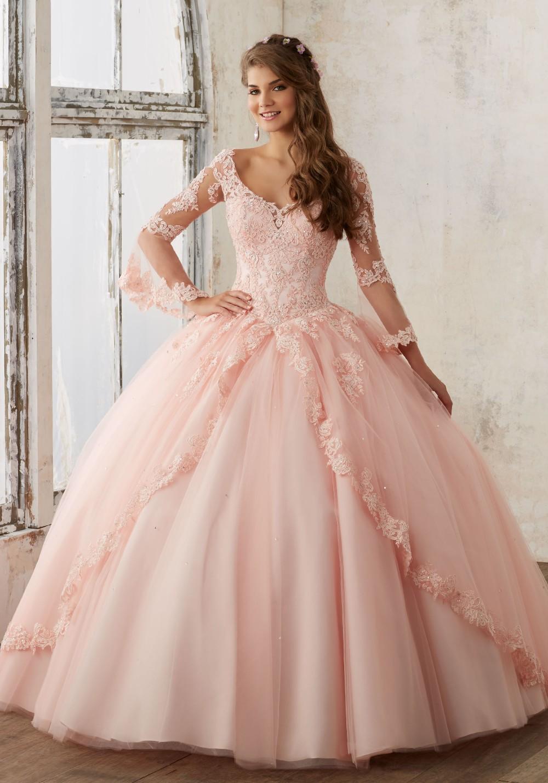 Peach long sleeve lace dress
