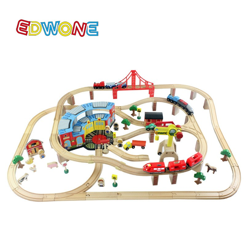Thomas and Buddies–142PCS Thomas Electrical Practice Monitor Set Wood Railway Monitor EDWONE match Thomas and Brio Items For Youngsters