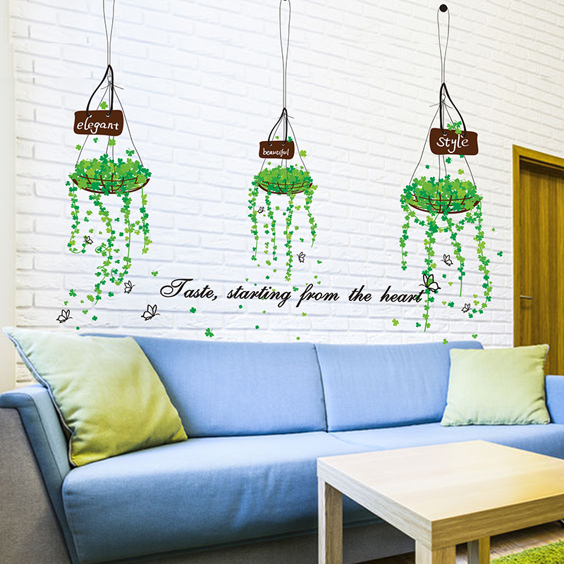 Removable Hanging Basket Wall Stickers Creative DIY Plant Theme Home Decor Decals for Sofa Backdrop Bedroom Decoration(China (Mainland))