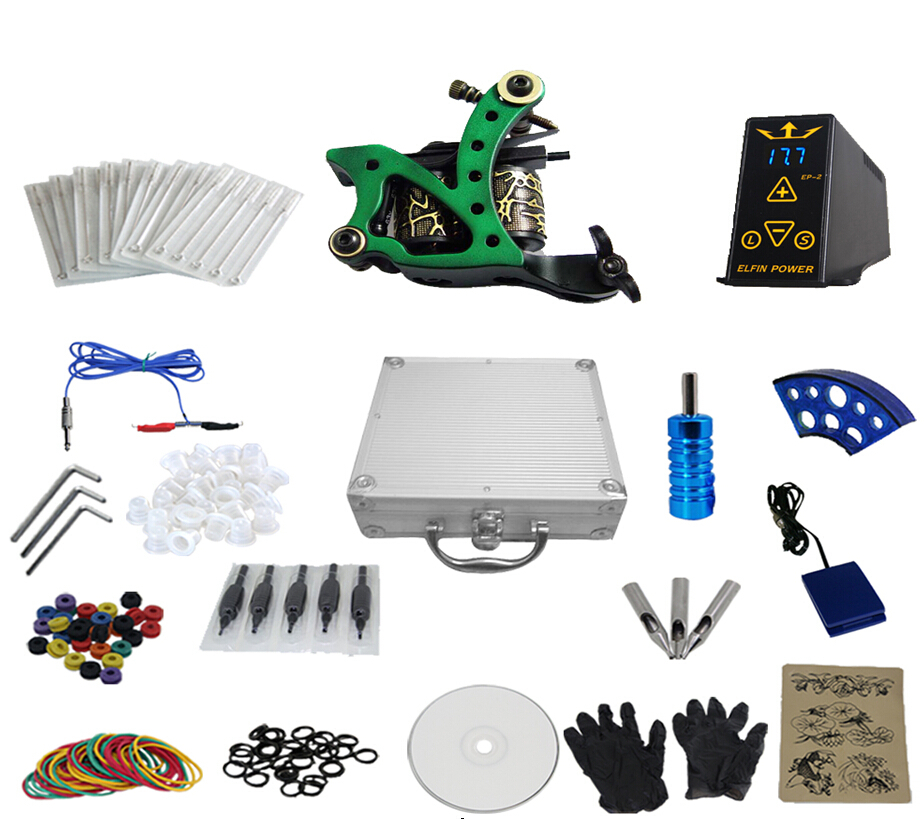 High quality Brand New 100% 1 set Complete Equipment Machine Power Supply Gun Color Inks Tattoo Kit Set free shipping(China (Mainland))