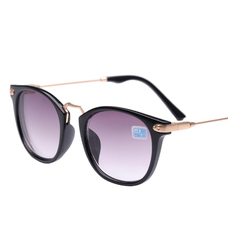 New high quality brand fashion womens prescription sunglasses men -2 discount myopia sunglasses -1.0 minus black metal gold(China (Mainland))