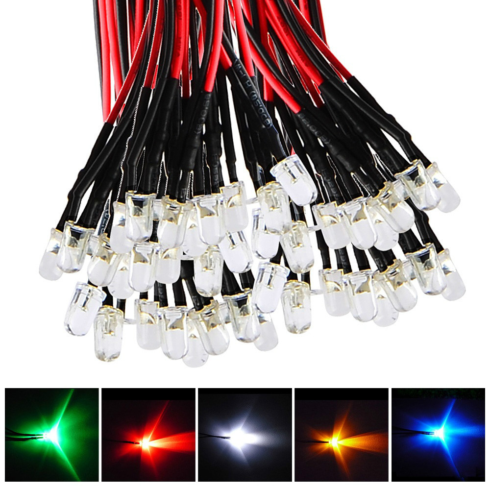 Гаджет  New 50pcs Mixed Color Pre Wired 5mm Light 20 cm Prewired DC 12V Lamp Bulb Free Shipping  None Свет и освещение