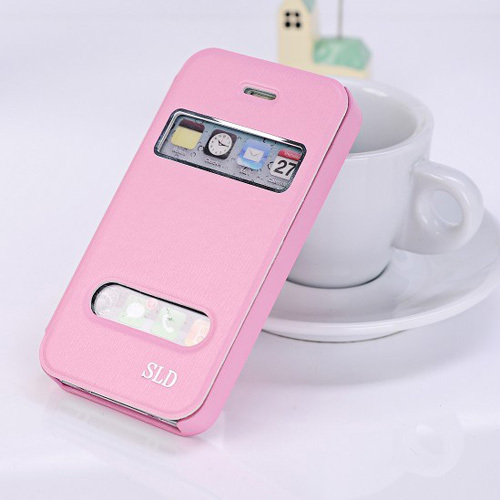 2014 NEW Ultrathin Flip Leather Windows Protect Cover Case Fashion case For Apple iphone 4 4g 4s Free Shipping(China (Mainland))