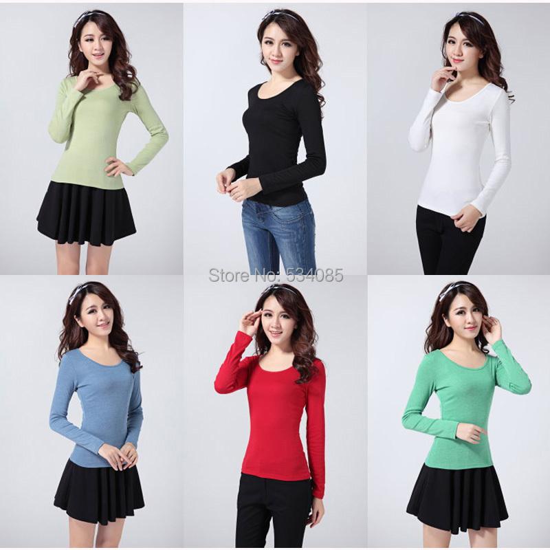 2015 spring  arrived  Women Clothing Wonen's Sweater Autumn shirt O-neck Long-sleeve Slim T-shirt(China (Mainland))