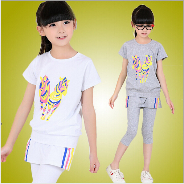 2015 New Summer Girls Dress &amp; Leggings 2pcs Child Brand Suit Cotton Casual Baby Kids Stripe Clothes Fashion Girls Clothing Sets<br><br>Aliexpress