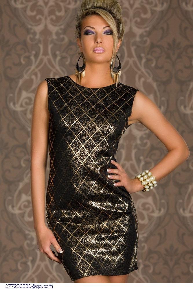 Золотисто Черное Платье