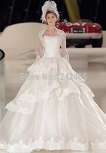 Ball Gown Strapless Wedding Dress Online Shopping Sweep Train Puffy Vestidos De Novia Con Apliques With Long Jacket MC90(China (Mainland))