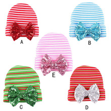 NEW Christmas Baby Newborn Hat infant Cotton Beanie With Big Sequin Bow Newborn Knit strip Caps 5pcs/lot(China (Mainland))