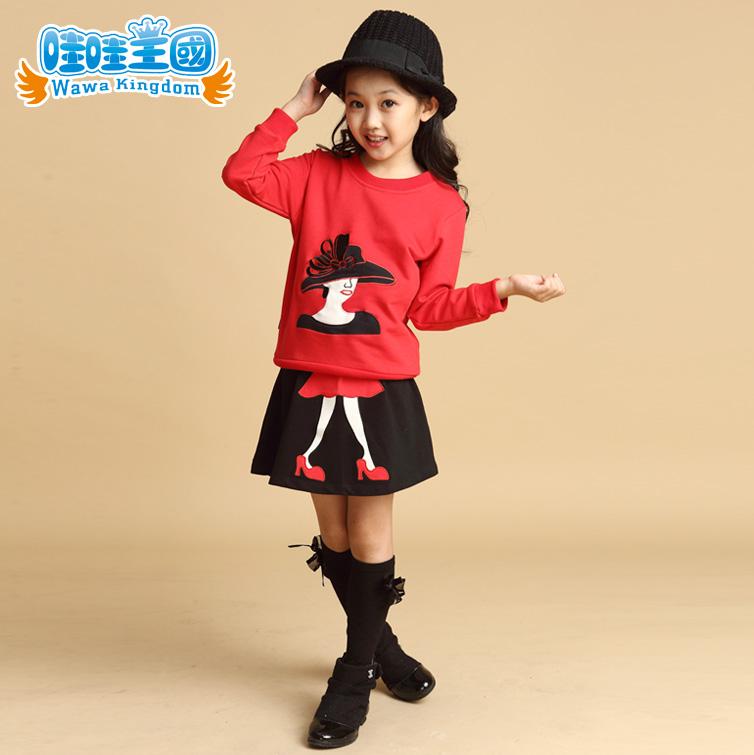 2014 children's spring and autumn clothing female child autumn 4-12 years old girls' sweatshirt dress female child set twinset(China (Mainland))