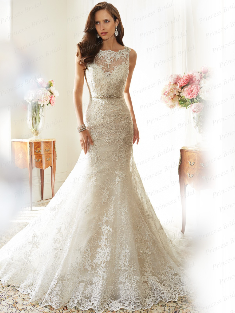 Fishtail Wedding Dress With Train : Train lace appliques wedding dress y in dresses from