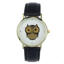Reloj Fashion Wrsit Watches Women Top Brand Owl Pattern Dial Watch Men Luxury Leather Quartz Analog Watch Womens Factory Price(China (Mainland))