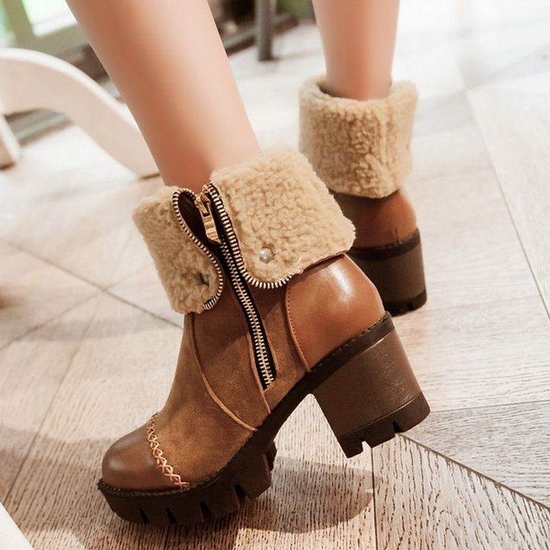 Size 32-43 Women Lace Up Martin Boots Platform Square Heels vintage Boots Shoes Woman Half Short Boots Shoes botas mujer