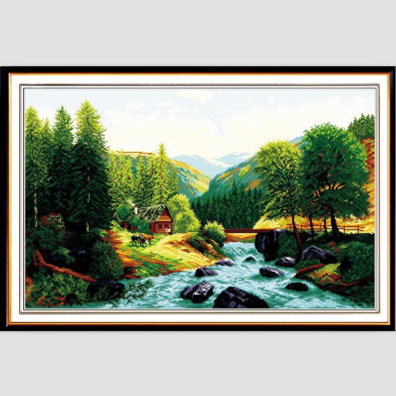 Landscape Patterns Needlepoint Kit For Embroidery Cross Stitch Painting 11CT 14CT Chinese Cross Stitch F071(China (Mainland))