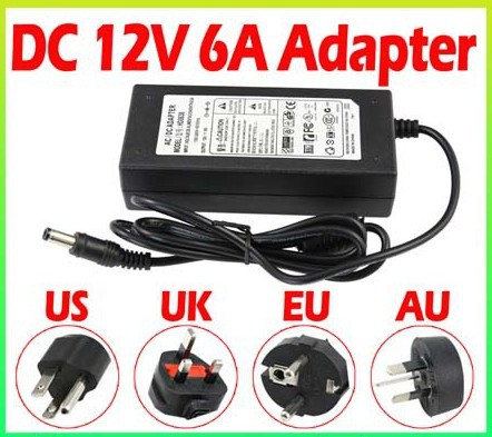 (50pcs/lot) 72W 12V 6A Power Adaptor/Adapter Power Supply LED transformer Driver for 3528 5050 LED strips(China (Mainland))