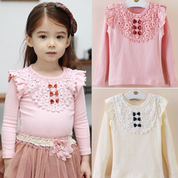 New Kids Girls Lace Bowknot Ruffled Cotton Bottoming Shirts Blouse Baby Long Sleeve Tops Clothing Freeshipping<br><br>Aliexpress