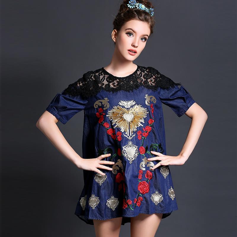 L-5XL Brand 2015 Women Short sleeve Lace Embroidery Summer blue Denim Dress Loose Casual Dresses Plus size XXXL 4XL - Yagle Size Fashion Center Co., Ltd store
