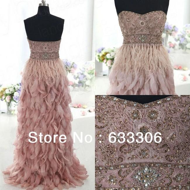 Vestidos De Festa Exquisite Custom-Made Line Lace Beads Applique Strapless Floor Length Wamen's Feather Dress - Cloudup store
