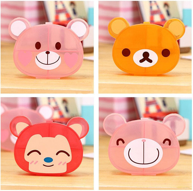Cute Pill Medicine Box Cartoon Animals 4 Cases Multi-Function Medication Storage Boxes For Kids AY867(China (Mainland))