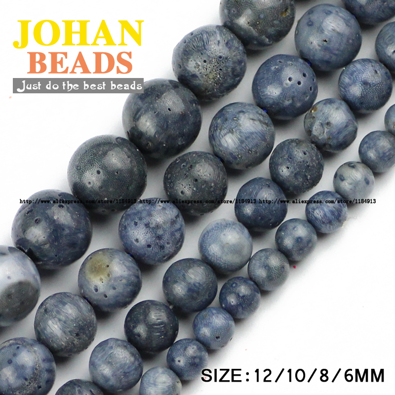 Blue coral stone beads Natural coral High quality Round Loose beads ball 6/8/10/12MM Women handmade Jewelry bracelet making DIY()