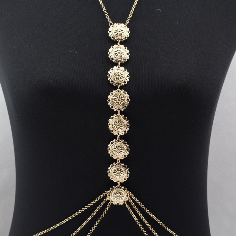 Gold Body Chain Women Gypsy Body Chain Jewelry Beach Harness Necklace Ethnic Belt Boho Turkish Body Jewelry(China (Mainland))